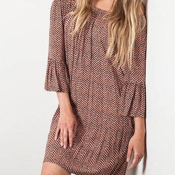 Eliza Bella for Umgee Off Shoulder Boho Chocolate Dress / Blouse SML