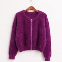 Autumn spring zipper Sweater Cardigan feminino Female Casual Knitted Mohair Cardigans Women beautiful Sweaters Coat Knitwear 605
