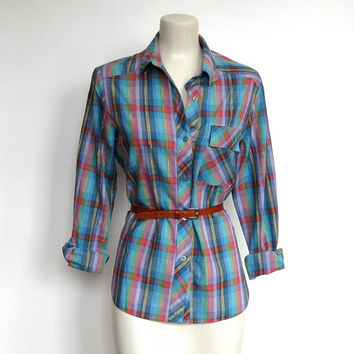 Vintage 1980s Multicolor Plaid / Silver Metallic Thread Shirt / Buttondown Blouse