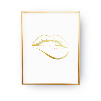 Mouth Print, Fashion Poster, Real Gold Foil Print, Beauty Poster, Makeup Print, Wardrobe Art,Lips Print, Home Art, Bedroom Decor,Fahion Chic
