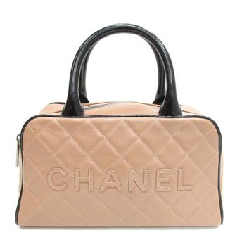 Authentic CHANEL Handbag Bag Quilted Caviar Leather Pink Used Vintage Women
