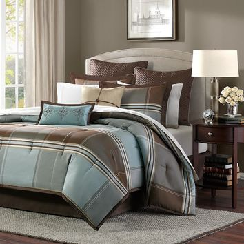 Madison Park Davenport 8-pc. Plaid Comforter Set (Blue)