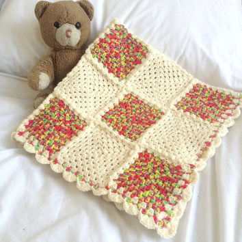 Crochet Baby Blanket, Cream and Rainbow Granny Square, Baby Swaddling Blanket, Crochet Cot Cover