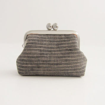 Coin Purse- mini frame jewelry case with ring pillow-gray stripe