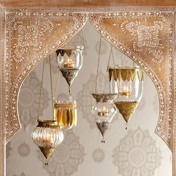 Antiqued Brass Indian Hanging Lanterns Set of 3