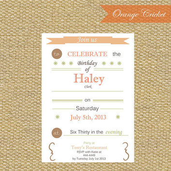 Rustic Cottage Chic Invitation by OrangeCricket on Etsy