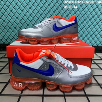 DCCK N223 Nike Air Vapomax 2018 Off White Air Force 1 Mesh Cushion Running Shoes Sliver Orange Blue