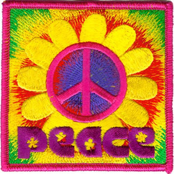 Peace Sign Iron-On Patch Square Daisy Logo