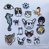1Pc Animals Tiger Cat Dog Embroidered Patch Iron On Sewing Applique for Jacket Clothes Badge Stickers DIY Apparel Accessories