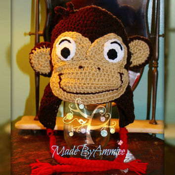 Crochet Baby Monkey Beanie, Infant Curious George Inspired Hat, Kids Animal Hat, Monkey Costume Hat, Halloween Animal Hat