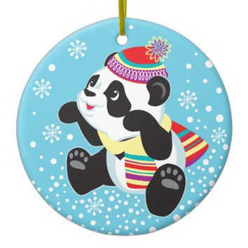 cartoon panda ceramic ornament