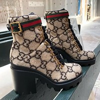 Gucci New fashion more letter high heels shoes boots