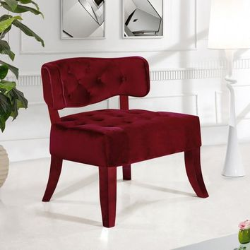 Charlotte Burgundy Velvet Accent Chair