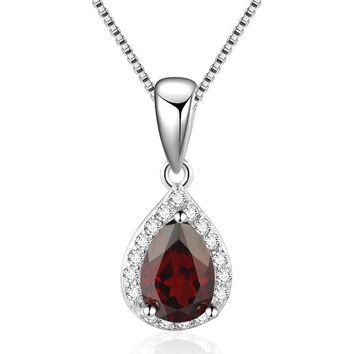 Mesmeric Water Drop Natural Sapphire Amethyst Garnet Pendant Necklaces For Women by Ritzy