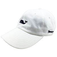Whale Logo Baseball Hat in White w/ Navy Longshanks by Vineyard Vines