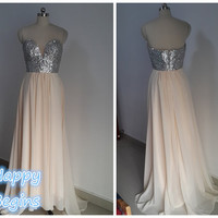Custom Made Silver Sequin Sweetheart Backless Long Prom Dress