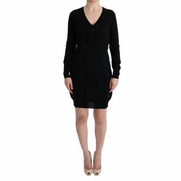 MARGHI LO' Black Wool Long Sleeve Shift Dress