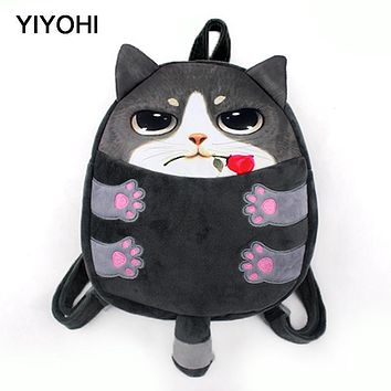 YIYOHI New Cute Fashion Chirldren Small Backpack Bag 3D Print Cat & Dog Animals Novelty High Quality For Kids Mochila Infantil