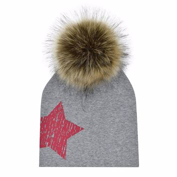 Raccoon Faux Fur Ball Hat Baby Girls Boys Hat Cap Cotton Children Beanies With Removable Hair Ball Winter Pompoms Hat For Kids 3