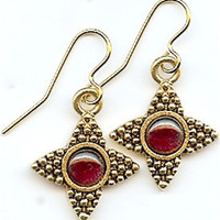 Victorian Dangling Earrings with Garnets - 7280