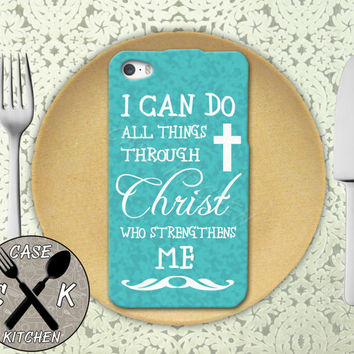 I Can Do All Things Through Christ Who Strengthens Me Blue Rubber Tough Case For iPhone 4/4s and iPhone 5 and 5s and 5c and iPhone 6 and 6 +