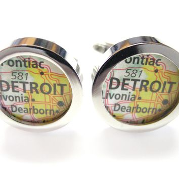Detroit Michigan Map Cufflinks