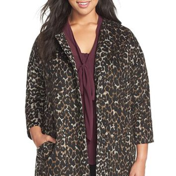 Plus Size Women's Vince Camuto Collarless Leopard Print Faux Fur Coat,