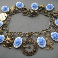 Alice in Wonderland Bracelet with Rose Cameos