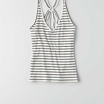 AEO Ribbed Strappy Back Tank, Cream