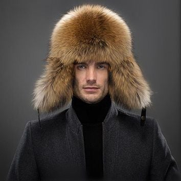 Winter Men Genuine Leather Fur Hat Real Silver Fox Fur Outdoor Ear Protection Caps 2017 New High Quality Natural Raccoon Fur Hat