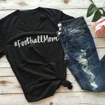 Football Mom Black Short Sleeve Tops for Women