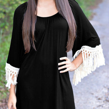 Black Bell Sleeve Tassel Mini Dress