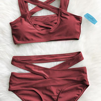 Cross Me Olive Green Bikini Set wine red cross open two piece bikini