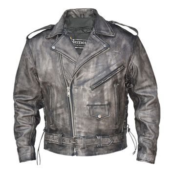 Xelement BXU6900 Urban Armor Vintage Mens Grey Leather Motorcycle Jacket with G