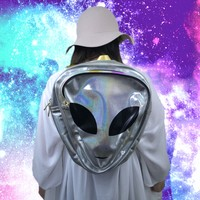 Holographic Silver Alien Backpack from ☯ harajuku alien ☯