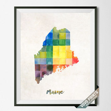 Maine, Map, Print, Poster, Watercolor, Augusta, Home Town, Dorm, Art, USA, Painting, States, America, Wall Decor, Watercolour [NO 19]