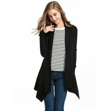 Women Fashion Slim Shawl Collar Long Sleeve Soid Pattern Irregular Hem Knitted Cardigan