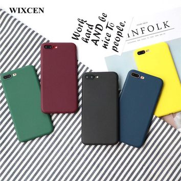 Wixcen Retro Winered Yellow Candy Phone Case for Iphone 8 X 7 7plus 6 6s 6splus Case Simple Lover Tpu Silicone Scrub Case Cover