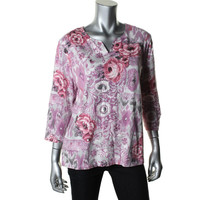 Alfred Dunner Womens Petites Floral Print Beaded Pullover Top