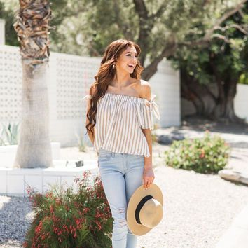 Leila Mustard Stripe Off the Shoulder Top