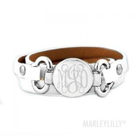 Monogrammed Leather Wrap Bracelet | Marleylilly