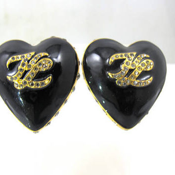 Karl Lagerfeld Earrings, Heart Shaped Black Enamel Clear Crystal Clip Ons, KL Logo, Vintage 1980s Haute Couture Jewelry