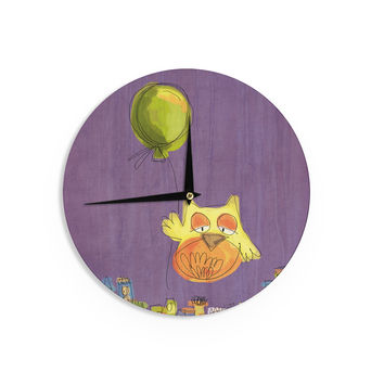 "Carina Povarchik ""Owl Balloon"" Purple Orange Wall Clock"