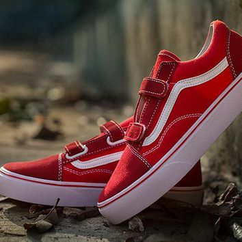 hcxx Vans Red Velcro Low Tops Flats Shoes Sneakers Sport Shoes