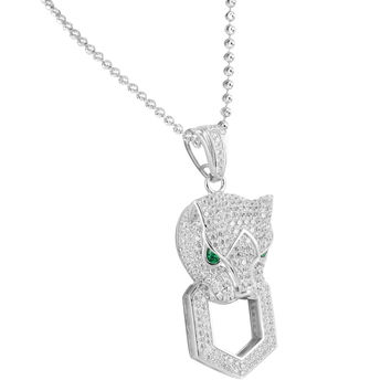 Lab Emerald Eyes Panther Silver .925 Pendant Iced Lab Diamond Charm & Free Chain