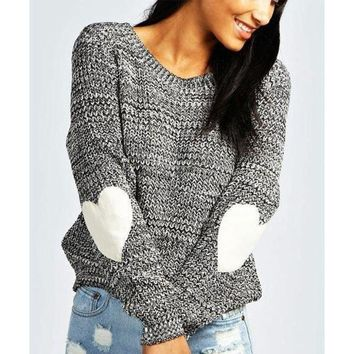 CREYHD2 Fashion Heart Patch Round Neck Knitted Sweater