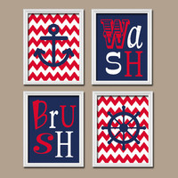 Nautical Child Bathroom Wall Art Brother Sister Red Navy Canvas Artwork Sea Ocean Anchor Wheel Set of 4 Wash Brush Chevron Shower Curtain