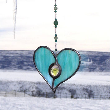 Seafoam Green Blue Stained Glass Heart Suncatcher with Gem and Beaded Strand