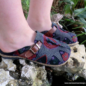 Laos Embroidered Vegan Slides Clogs Shoes In by SiameseDreamDesign