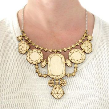 Wood Laser Cut Statement Necklace   Bib Engraved Geometric Jewels Birch Ply Jewelry